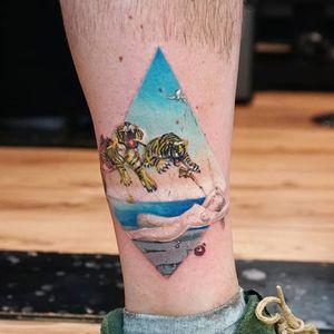 Tattoo by Ksu Arrow #KsuArrow #SalvadorDalitattoos #Dalitattoos #Dali #salvadordali #surrealism #surreal #painter #fineart #painting #galadali #tiger #gun #pomegranate #sky #elephant