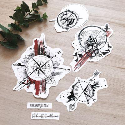 Available compass tattoos ww.skinque.com #compass #compasstattoo #trashpolka #trashpolkatattoo #abstract #abstracttattoo #tattooart #tattoodesign #illustration #clock #clocktattoo #bird #arrow