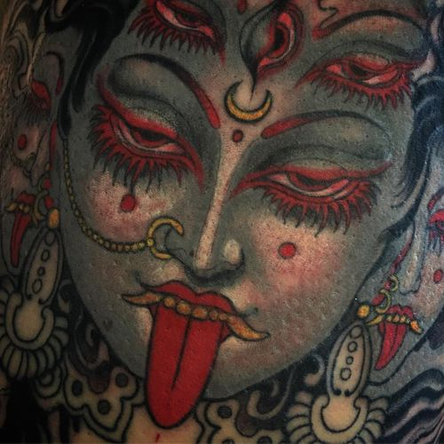 Tattoo by Aimee Cornwell #AimeeCornwell #kali #color #portrait #Hindu #ladyhead #detail #thirdeye #moon #tattoodomission #tattoodovision #tattoodo #tattoodoapp