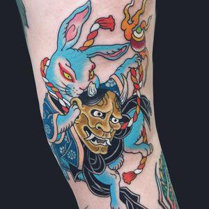 Tattoo by Wen Ramen #WenRamen #color #Japanese #rabbit #Hannya #kiono #rope #shell #fire #animal #yokai #tattoodomission #tattoodovision #tattoodo #tattoodoapp