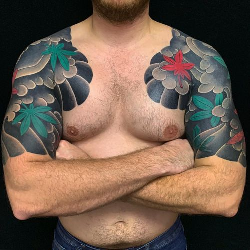 Tattoo by Sergey Buslay #SergeyBuslay #Japanese #color #smoke #leaves #mapleleaf #fall #halfsleeves #irezumi #tattoodomission #tattoodovision #tattoodo #tattoodoapp