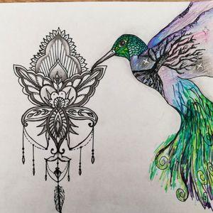 Dessin de colibri et orchidée
