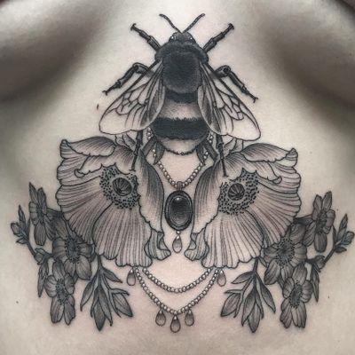 Tattoo by Antony Flemming #AntonyFlemming #blackandgrey #bee #pearls #flowers #floral #nature #jewelry #ornamental #gems #insect #tattoodomission #tattoodovision #tattoodo #tattoodoapp