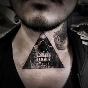 Tattoo by Josh Lin #JoshLin #blackandgrey #skull #realism #realistic #Hyperrealism #death #triangle #necktattoo #tattoodomission #tattoodovision #tattoodo #tattoodoapp