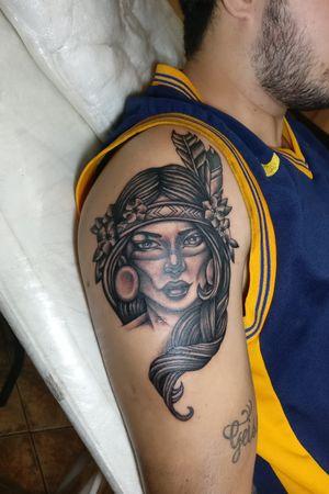 Índia em preto e cinza... #Indianwomantattoo #indian #india #tattooart #tattoo #blackandgreytattoo #tattooempretoecinza