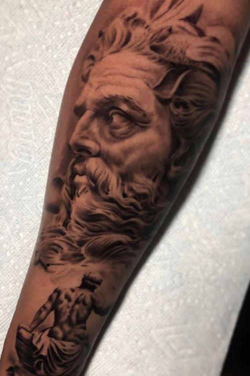 #blackandgrey#inked#greekmythology#sleevetattoo#claytattoos#tattoos