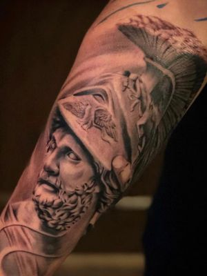 #blackandgrey#inked#greekmythology#sleevetattos#claytattoos#tattoos