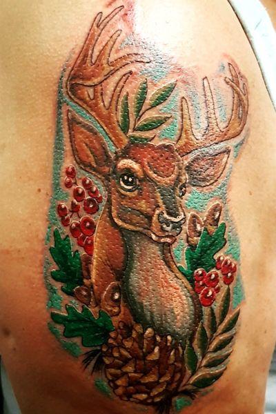 Deer tattoo #deertattoo #deer #stagtattoo #stag #colourtattoo #animal #animaltattoo #animals #pinecones #pinecone #pineconetattoo #acorns #acorn #acorntattoo