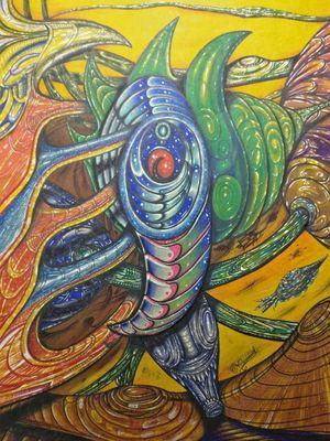 Desenho Biomecânico, a base de marcador (pincel atômico) e papel cartão... #Biomechdesign #biomech #biomecânico #biomech_collective #Biomechcolordesign