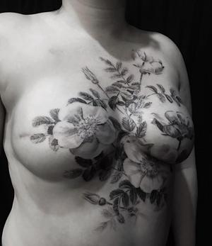 Tattoo by David Allen #breastcancer #cancersurvivor #doublemastectomy #blackworkerssubmission #davidallen