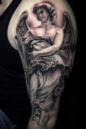 #blackandgrey#inked#greekmythology#sleevetattoo#angeltattoo#claytattoos#tattoos