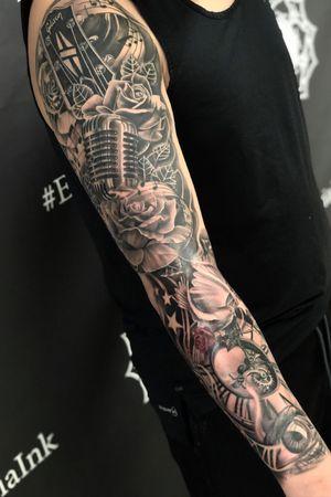 #sleeve #musicsleeve #blackandgrey #tattoos #kevinibanez