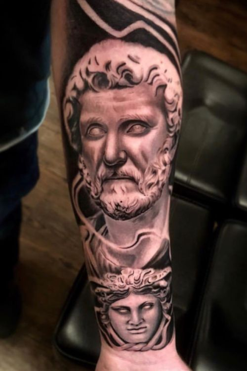 @claytattoos  #blackandgrey#inked#greekmythology#claytattoos#tattoos