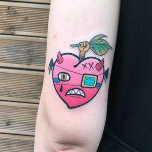 Tattoo by Mika Baby #MikaBaby #hearttattoos #heart #love #heartbreak #zombie #devil #strange #batwing #funny #color #newschool