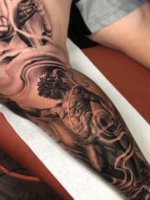 #blackandgrey#inked#greekmythology#sleevetattoos#claytattoos#tattoos