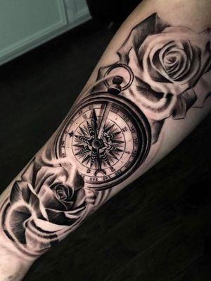 #blackandgrey#inked#sleevetattoo#claytattoos#tattoos#clocktattoo