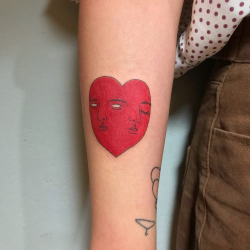 Tattoo by Mick Hee #mickhee #hearttattoos #heart #love #heartbreak #surreal #strange #portrait