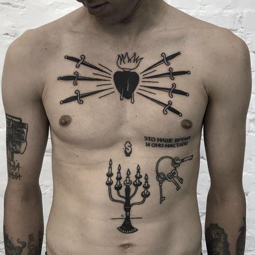 Tattoo by Andrei Ylita #AndreiYlita #ylitenzo #hearttattoos #heart #love #heartbreak #sacredheart #sword #candelabra #candle #light #keys #Money #fire #blood #blackwork