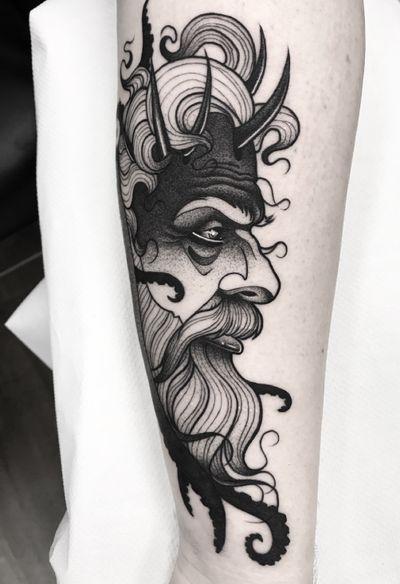 Poseidon 🖤 #blackworkerssubmission #btattooing #onlythedarkest #onlyblackart #thebestspaintattooartists #thebesttattooartists #darkartists #skinartmag #tattoo #tattoos #tatuaje #tatuajes #inkjecta #beauty #blacktattooart #poseidon #radtattoos #tattooistartmag #ttt #blkttt #bcnttt #inkedmag #dotworktattoo #darkartist #ink #inked #blacktattoo #blackworktattoo #blackworkers