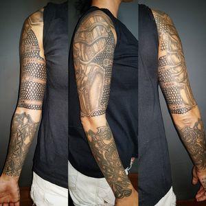 Warrior celtic armor woman tattoo sleeve. My work