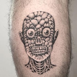 Tattoo by Skeleton Jelly #SkeletonJelly #strange #surreal #different #unique #portrait #skeleton #teeth #skull #zombie #brain