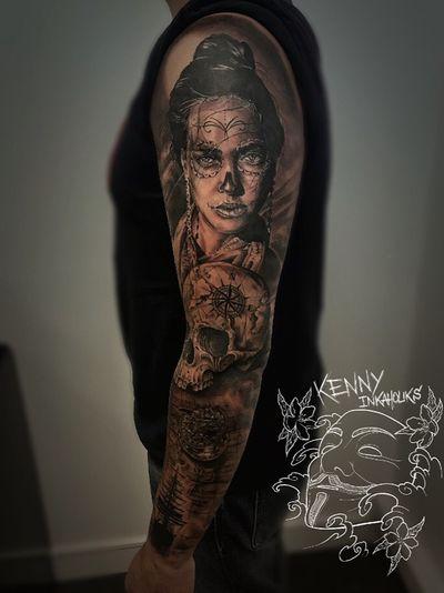 45h sitting for this full sleeve. #inkaholiks #tattoo #ink #fullsleeve #diadelosmuertos #catrina #catrinatattoo #skull #skulltattoo. Follow my IG for more @kenny_inkaholiks_tattoo