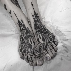 Tattoo by VinsVins aka Happy Drama #VinsVins #HappyDrama #besttattoos #best #blackwork #darkart #castle #landscape #building #architecture #fantasy #sea
