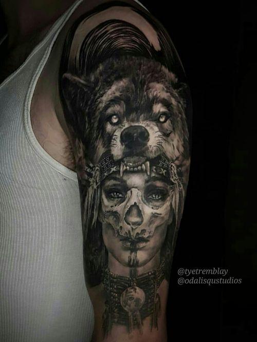 #ladyface #headdress #skull #morph #wolf #blackandgrey #realism