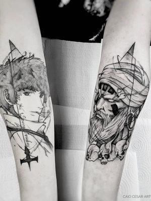 Spike (healed) and Dhalsim (fresh) . . #inkwell #picoftheday #instaart #art #blacktattooartists #artista #tattooartists #blackwork #geek #blacktattoo #blackworkerssubmission #blackandwhite #blacktattooart #blacktattooartists #tattoo #tattooistartmag #tatuagemsp #tattooist #streetfighter #tattooinkspiration #tattooink #equilattera #tattoo2me #tattooink #dhalsim #tattoosp #btattooing #geektattoo #blxckwork #tatuagem