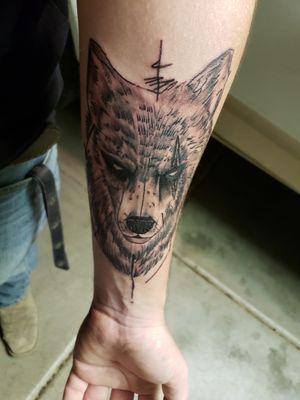 Wolf with a scar #wolftattoo #scar