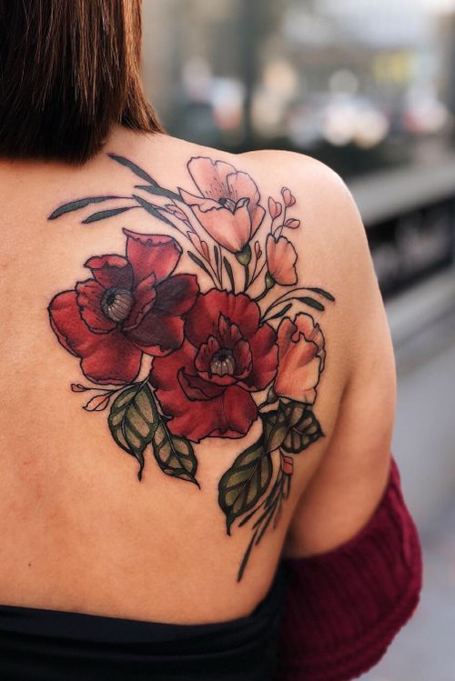 Flowery cover up 🌹 #coverup #coveruptattoo #poppy #shoulder #back #flower #floral #color #neotraditional