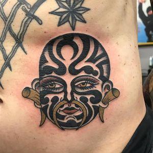 Tattoo by Bailey Tattooer #BaileyTattooer #besttattoos #best #oldschool #color #traditional #portrait #tribal #tamoko #maori #newzealand #bodymodification #bodymod