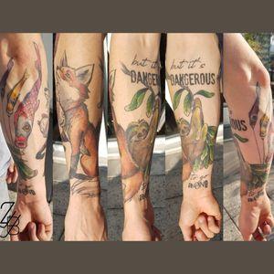 Vous vous souvenez du tatouage avec le renard et le paresseux? Le voici en version cicatrisée. #dangerous #alone #sloth #slothtattoo #fox #foxtattoo #japanese #japanesetattoo #kite #koinobori #koinoboritattoo #zeldablackjeanjacques #zeldabjj #colmartattoo #frenchtattoo #tattoo #tatouage #tattooartist #tattoodesign #colortattoo #neotrad #neotradtattoo