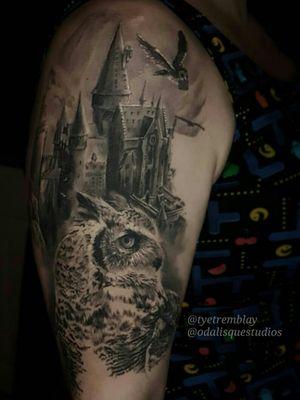#harrypotter #harrypottertattoo  #hogwarts #owl #greathornedowl #literarytattoo #ravenclaw #jkrowling #blackandgrey #realism
