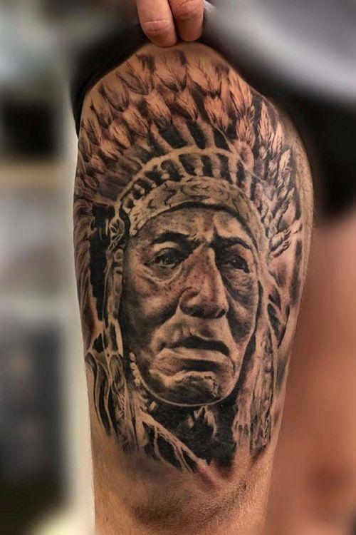 Native American chief thigh piece.