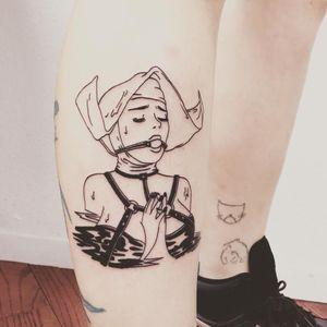 Tattoo by Tina Lugo #TinaLugo #kinkytattoos #kinktattoos #kink #kinky #bdsm #leather #fetish #queer #empower #love #consent #linework #nun #catholic #shame #guilt #illustrative #blackwork