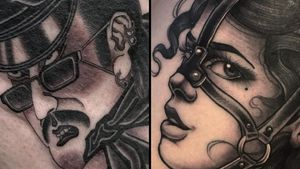 Tattoo on the left by Acetates and tattoo on the right by Jasmine Wright #JasmineWright #Acetates #kinkytattoos #kinktattoos #kink #kinky #bdsm #leather #fetish #queer #empower #love #consent
