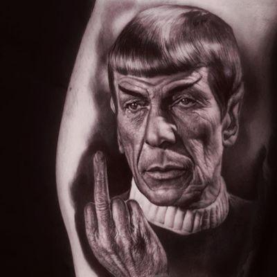 Tattoo by Ralf Nonnweiler #RalfNonnweiler #blackandgreyrealismtattoos #blackandgreyrealism #blackandgrey #realism #hyperrealism #realistic #Spock #StarTrek #middlefinger #fuckyou #scifi