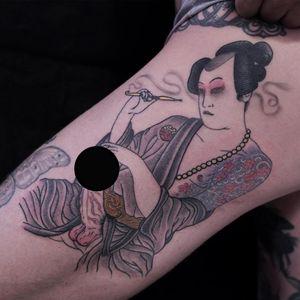 Tattoo by Lisa Riva #LisaRiva #kinkytattoos #kinktattoos #kink #kinky #bdsm #leather #fetish #queer #empower #love #consent #Japanese #irezumi #shunga #smoke #illustrative