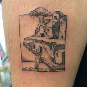 Tattoo by Jackson Epstein #JacksonEpstein #blackwork #dotwork #linework #illustrative #comicbook #fineart #landscape #building #architecture #surreal