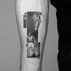Tattoo by Amanda Piejak #AmandaPiejak #blackandgreyrealismtattoos #blackandgreyrealism #blackandgrey #realism #hyperrealism #realistic #boxing #portrait #fight #MuhammadAli