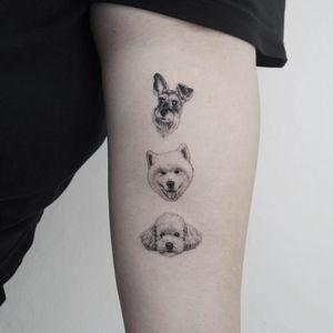 Tattoo by Youyeon #Youyeon #dogtattoos #dogtattoo #dog #animal #petportrait #mansbestfriend #realistic #realism #Hyperrealism #blackandgrey
