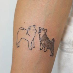 Tattoo by Yaroslav Putyata #YaroslavPutyata #yarput #dogtattoos #dogtattoo #dog #animal #petportrait #mansbestfriend #handpoke #nonelectrictattooing #dotwork #shibainu
