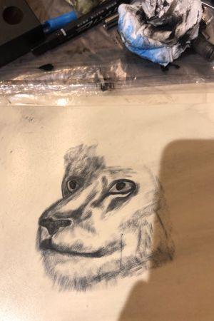 Work in progress on fake skin #lion #fakeskin #shading