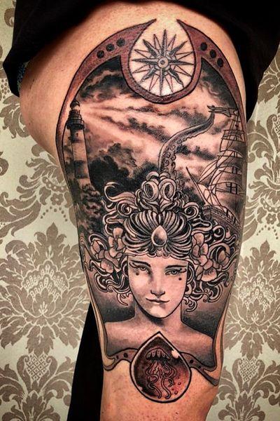 The Queen of Seven Seas #blackandgrey #bng #Artnouveau #lighthouse #ship #kraken #lady #clouds #tattoooftheday #tattooartist