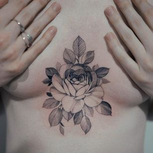 Tattoo by Zihwa #Zihwa #torsotattoos #torso #chestpiece #rose #flower #floral #illustrative #linework #fineline #leaves #plant #nature