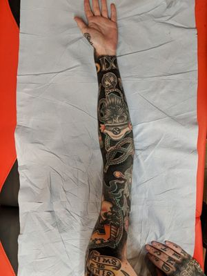 New blacked out arm :)  Follow me on Instagram 1tombrennan #sleeves #blackout #oldschooltattoos #oldachool #sea #skull #Black #BlackworkTattoos #blackwork #BlackoutTattoo