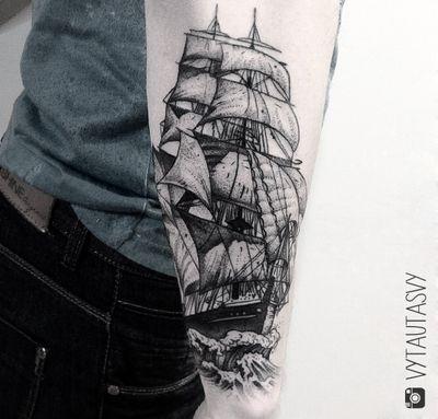 #ship #shiptattoo #dotwork #dotworktattoo #sailor #blackwork #blackworktattoo #tattooart #fineline #finelinetattoo #illustrative #forearm #forearmtattoo #new #ideas #newyork #besttattoos #ink #incredibletruink #inkaddict #thebesttattooartists