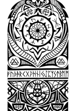 A design of nordic runes, valknuts, and the runic/mystical compass.
