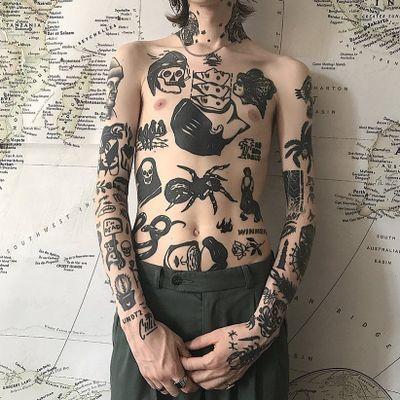 Tattoo by Andrei Ylita aka ylitenzo #AndreiYlita #ylitenzo #torsotattoos #torso #blackwork #graphicart #stomachpiece #chestpiece #bodysuit #darkart #surreal #spider #skull #reaper #ladyhead #rose